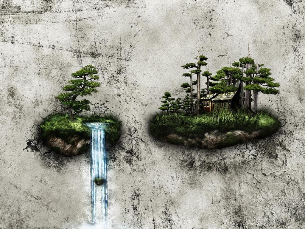 1920x1080 бансай, медитация, водопад, острова картинки на рабочий стол обои фото скачать